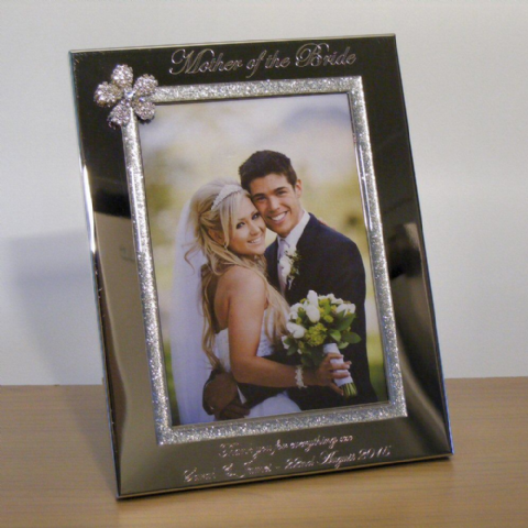 Crystal Flower Photo Frame 5x7 Personalised Mother of the Bride Gift
